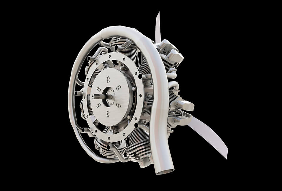 Industrial Animation Services_3D Image of a plane engine